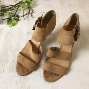 J Crew Ankle Strap Camel Colored Suede Heel Size 6